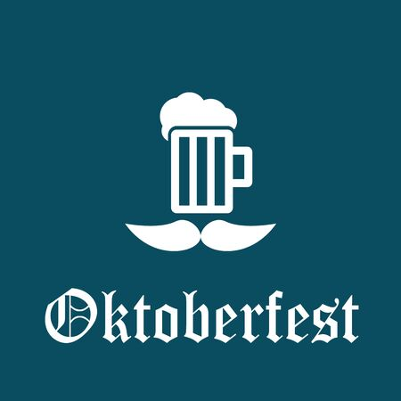 icon mug with beer and moustache - greeting card Oktoberfest design Illustration