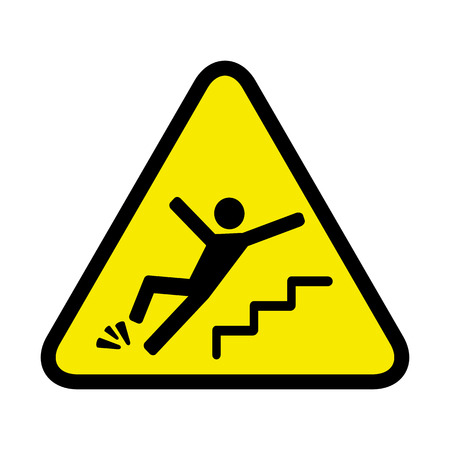 falling: vector danger sign of a person falling down the stairs Illustration
