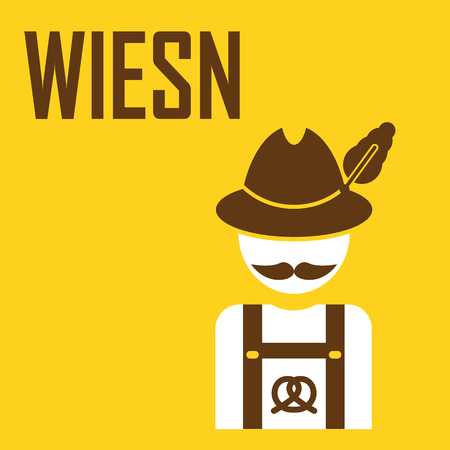 wiesn: greeting card Oktoberfest design - the icon with the man in the Bavarian hat - German with a mustache Illustration