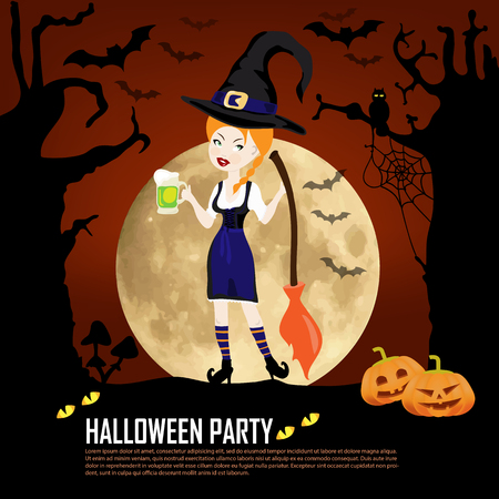 sexy witch: Happy Halloween template invitation cards with sexy witch girl with a broom on a background of forests and moons and pumpkins