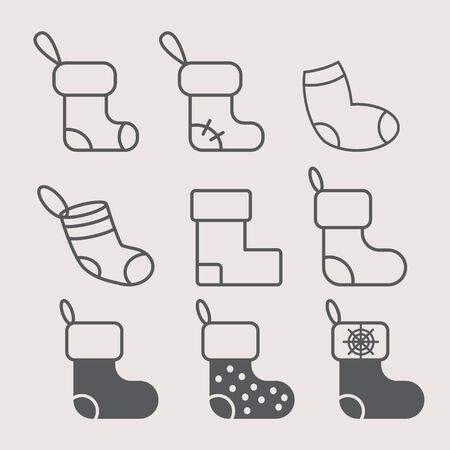 new years: new years sock for gifts - set of icons