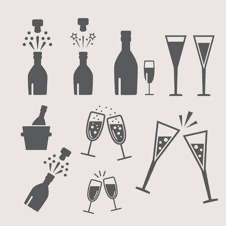 popping cork: Champagne celebration. Open champagne bottle