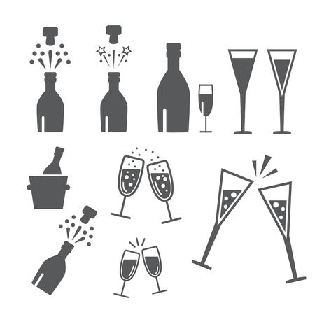 botella champagne: celebraci�n champ�n. botella de champ�n abierta Vectores