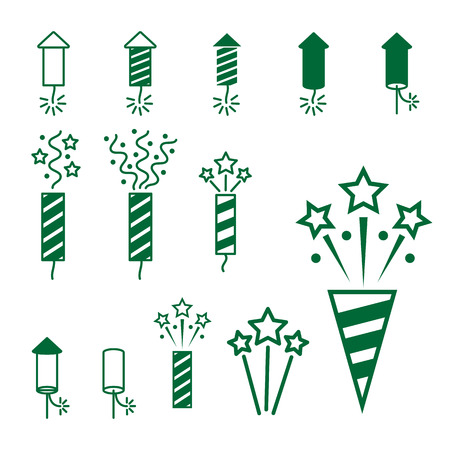 pyrotechnic: firework pyrotechnic  icon set. Vector illustration