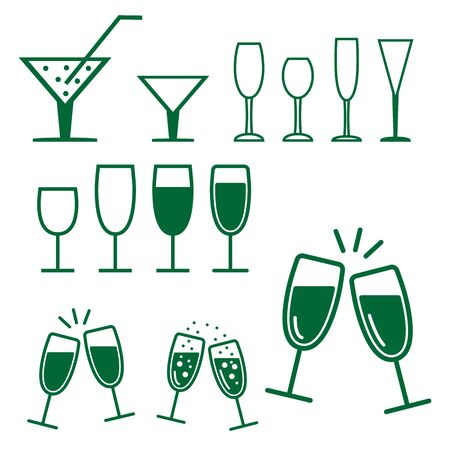 green glasses: Christmas - new year green glasses icon set. Vector illustration