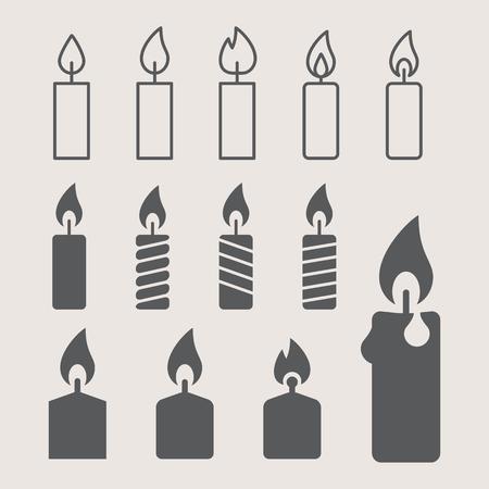 paraffin: a lit candle. icons set Illustration