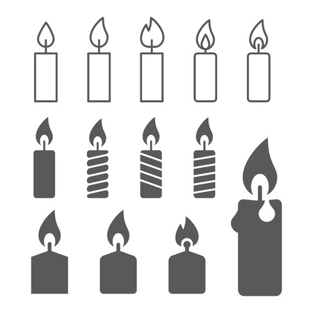 fire flame: candle silhouettes on the white background Illustration