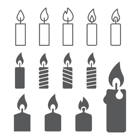 flames: siluetas de las velas en el fondo blanco