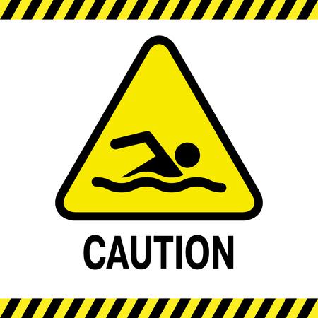 no swimming: Swimming area and no swimming hazard- warning sign Illustration