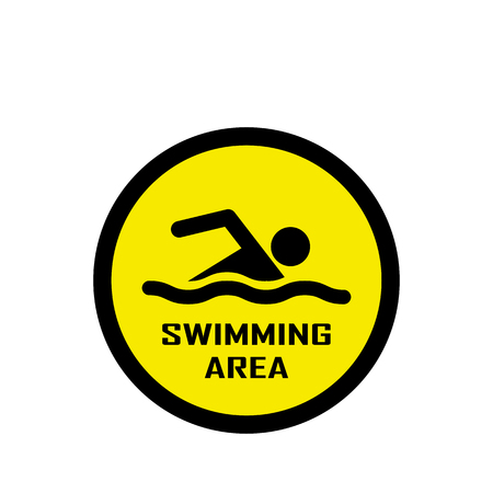 no swimming: Swimming area and no swimming hazard- warning sign Illustration