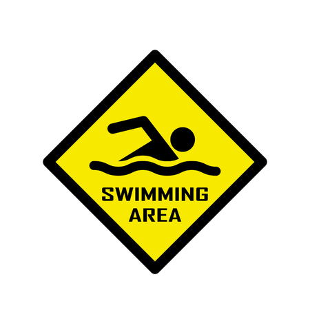 no swimming sign: Swimming area and no swimming hazard- warning sign Illustration
