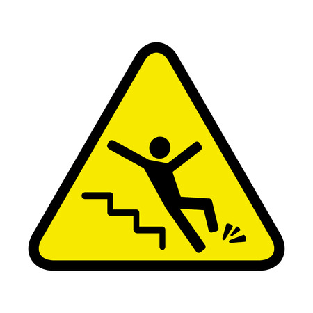 falling down: sign of danger of falling because of ice on the stairs