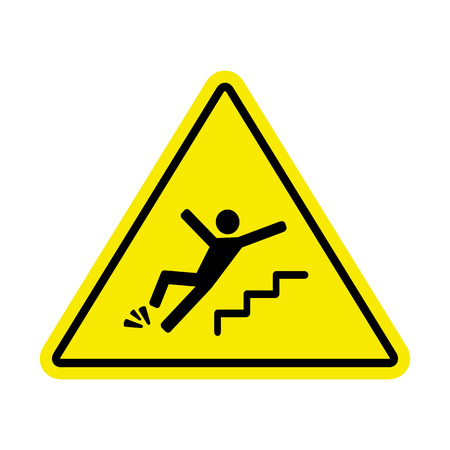 slip hazard: sign of danger of falling because of ice on the stairs