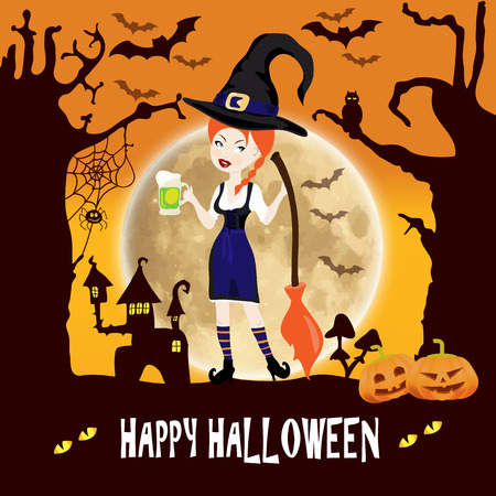 sexy witch: Happy Halloween template invitation cards with sexy witch girl with a broom on a background of forest and moon and pumpkins Illustration