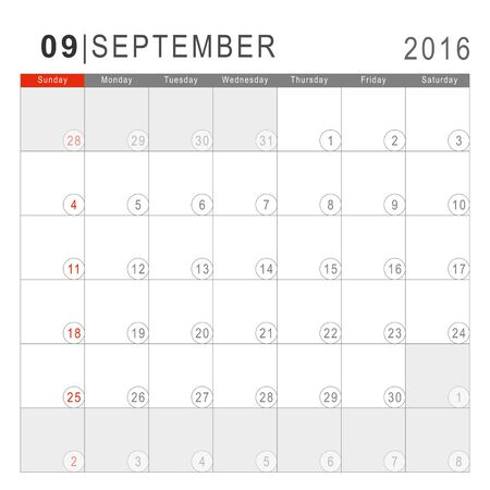 arial: Calendar 2016. Vector Flat Design Template. September. Week Starts Sundayand ends  with Saturday. Font Arial sans serif. Illustration