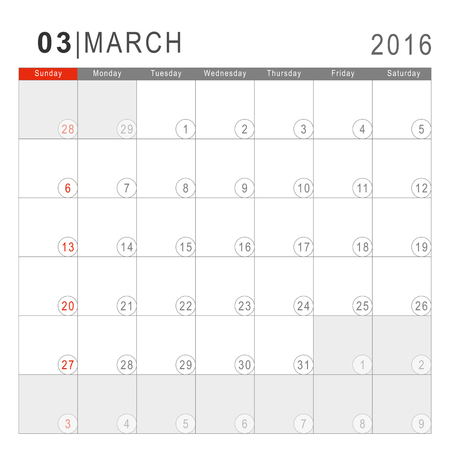 sans: Calendar 2016. Vector Flat Design Template. March. Week Starts Sundayand ends  with Saturday. Font Arial sans serif.