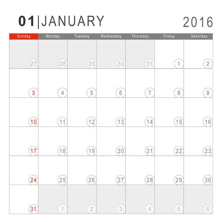 Calendar 2016. Vector Flat Design Template. January. Week Starts Sundayand ends  with Saturday. Font Arial sans serif. Illustration