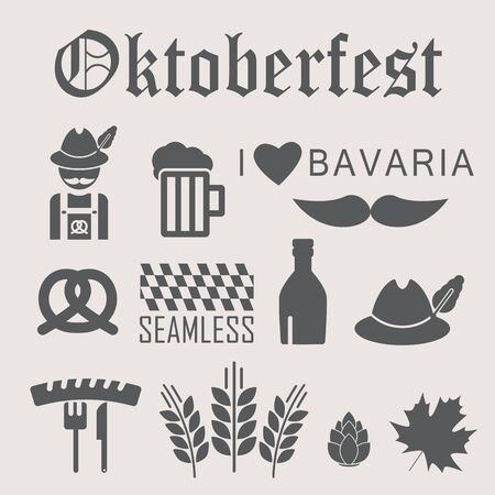 oktoberfest food: Octoberfest icon set. German festival food and beer symbols. Vector illustration. Oktoberfest beer festival flat icons design Illustration