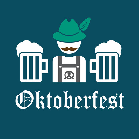 greeting card Oktoberfest design - the icon with the man in the Bavarian hat - German with a mustache Illustration