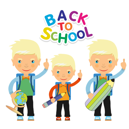 three children: Back to school design. Vector illustration three children with schoolbags and school subjects Illustration