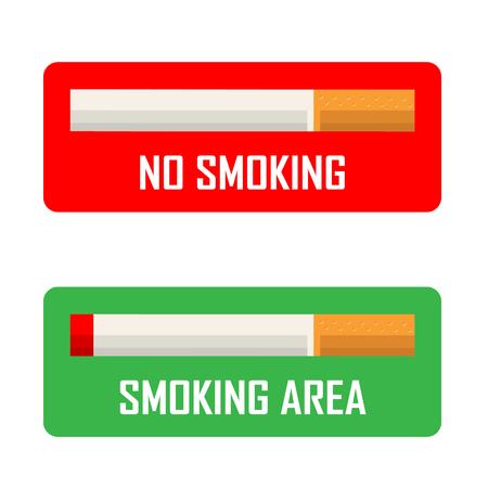 smoldering: No smoking and smoking area signs