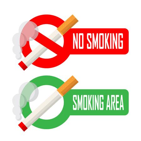 禁煙と喫煙エリア標識