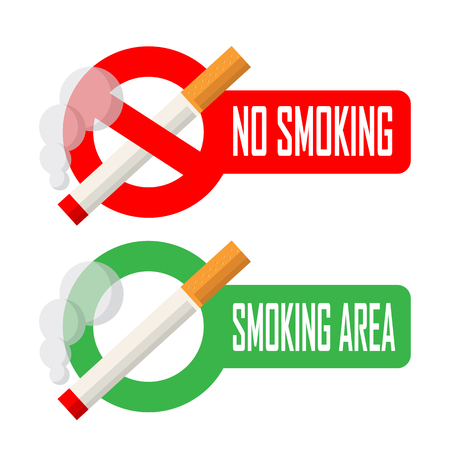 smoke: No smoking and smoking area signs