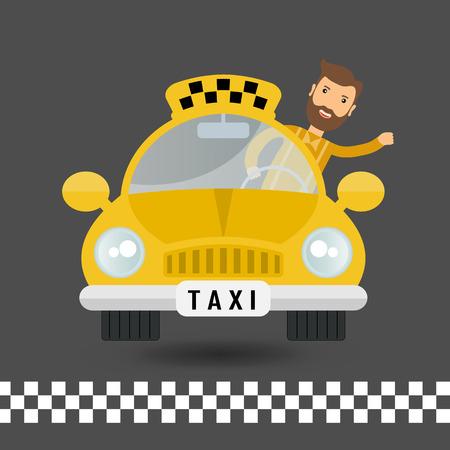 fare: yellow taxi car and taxi driver - vector icon