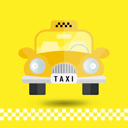 yellow taxi: yellow taxi car - vector icon Illustration