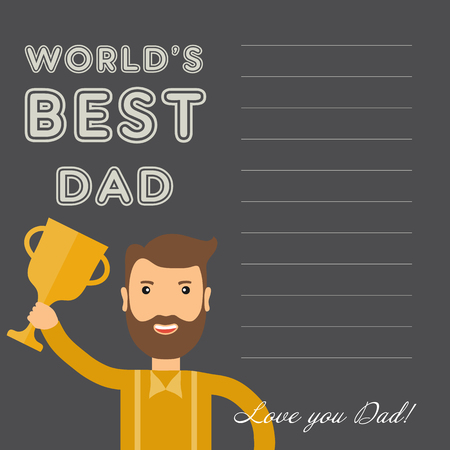 you figure: greeting card happy fathers day and an inscription with the words best dad in the world