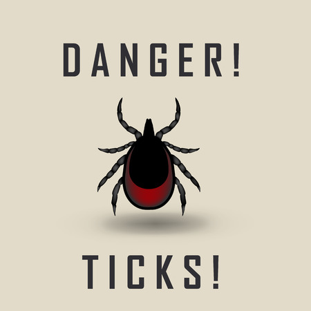 lyme disease: vector image of a tick drunk the blood - tick stop sign