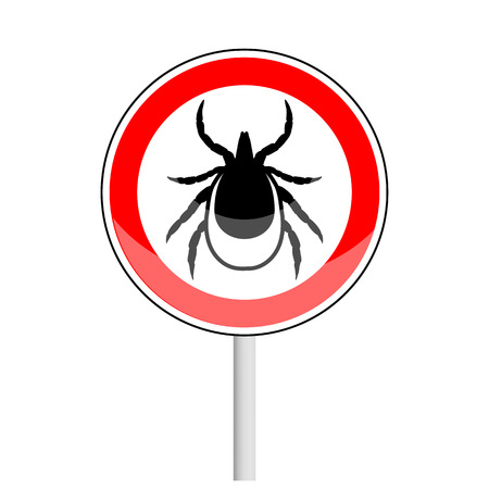 borreliosis: vector image of a tick in a red  circle - tick stop sign Illustration