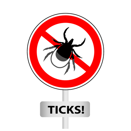 borreliosis: vector image of a tick in a red crossed-out circle - tick stop sign