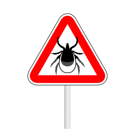 borreliosis: vector image of a tick in a rewarning road sign - ticks stop sign