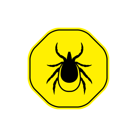 lyme disease: vector image of a tick in a yellow circle - tick stop sign