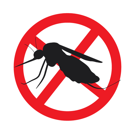 stop mosquito sign: the mosquitoes stop sign - vector image of funny of a mosquito in a red crossed out circle