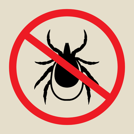 lyme: vector image of a tick in a red crossed-out circle - tick stop sign
