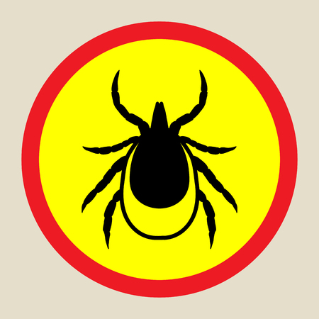 lyme disease: vector image of a tick in a red circle - tick stop sign