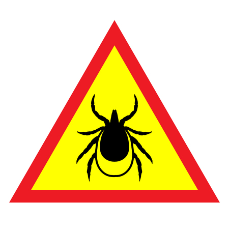 lyme disease: vector image of a tick in a red triangle - tick stop sign Illustration