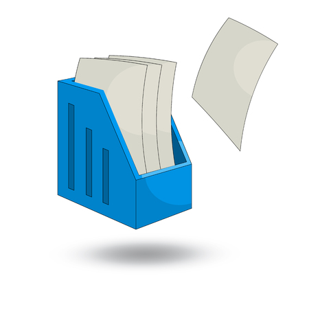 filing tray: paper tray vertical and sheets of paper. cartoon  style design - vector Illustration