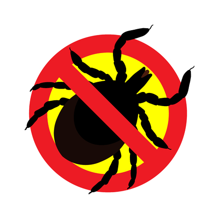 skin infections: vector image of a tick in a red crossed-out circle - ticks stop sign