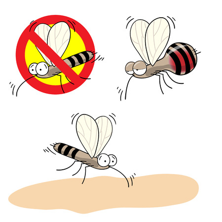 crossed out: mosquitoes stop sign - vector cartoon image of funny mosquito drunk with blood and  in a red crossed out circle