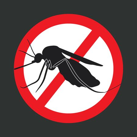 mosquitoes: the mosquitoes stop sign - vector image of a mosquito in a red crossed out circle Illustration