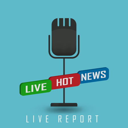 hot news: vector illustration of a live report with button live hot news and microphone