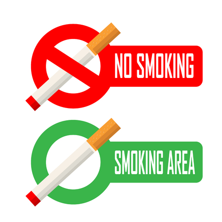 pernicious habit: No smoking and smoking area signs