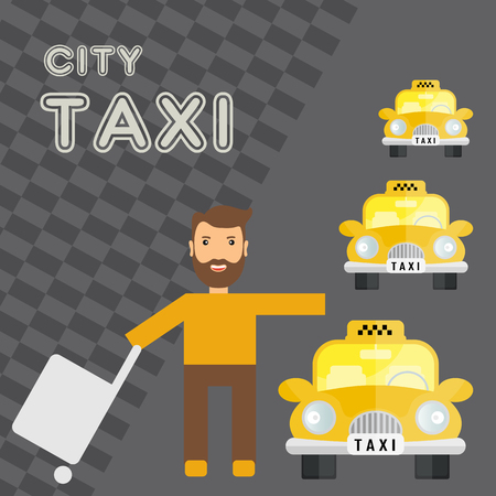 fare: yellow taxi car and catching a cab man - vector icon