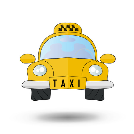 fare: yellow taxi car - vector icon Illustration