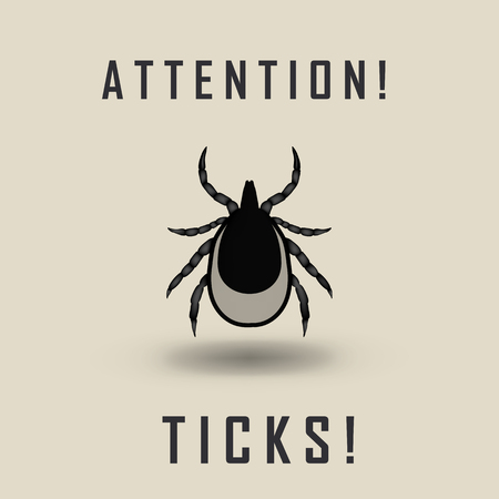 borreliosis: vector image of a tick  - tick stop sign
