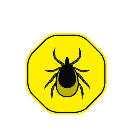 borreliosis: vector image of a tick in a yellow circle - tick stop sign