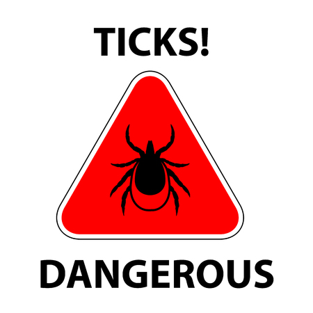 borreliosis: vector image of a tick in a red triangle - tick stop sign Illustration